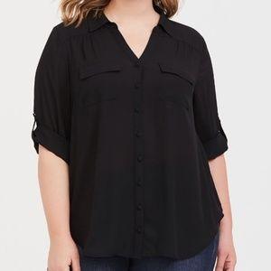 NWOT Torrid Black Georgette Button-Down Shirt